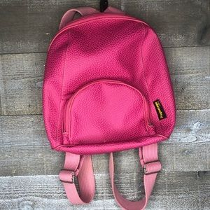 Paquetage Paris pebbled pink leather mini backpack